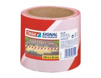 Kordónová páska, 80 mm x 100 m, TESA, červená/biela