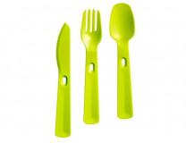 """Príbor, sada, plastový, trojdielny, CURVER """"Smart To Go"""", zelený"""