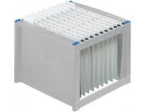 Box na závesné zakladacie dosky, plastový, HELIT, svetlosivý - modrý