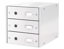 """Box na dokumenty, laminovaný kartón, 3 zásuvky, LEITZ """"Click&Store"""", biely"""