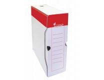 Archívny box, A4, 100 mm, kartón, VICTORIA, červený-biely