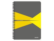 """Blok, A5, linajkový, 90 listov, laminovaná kartónová obálka, LEITZ """"Office"""", sivá-žltá"""