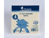 "Samolepiaci bloček, ""Z"", 75x75 mm, 100 listov, VICTORIA, žltá"