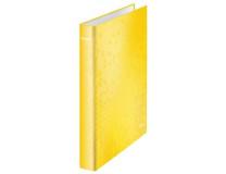 """Krúžkový šanón, 2 D krúžky, 40 mm, A4 Maxi, kartón, LEITZ """"Wow"""", žltá"""