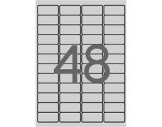 Etikety, 45,7x21,2 mm, polyester, odolné voči poveternostným podmien., zaoblené rohy, APLI, strieborné, 4800 etikiet/bal