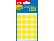 Etikety, 19 mm okrúhle, ručne popisovateľné, farebné, APLI , žlté, 100 etikiet/bal