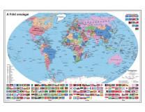 Nástenná mapa, 70x100 cm, kovová lišta, Štáty Zeme, STIEFEL