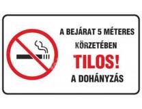 """Informačná nálepka, """"Zákaz fajčenia do 5 metrov od vchodu do budovy"""""""