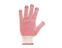 Ochranné rukavice, polyester/bavlna, s protišmykovými bodkami