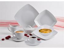 """Hlboký tanier, ROTBERG, porcelán, hranatý , 20 cm, 6 ks sada, """"Quadrate"""", bielaa"""