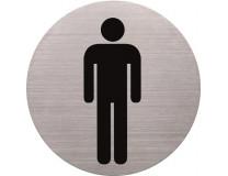 Informačná tabuľa, nerezová oceľ, HELIT, pánska toaleta
