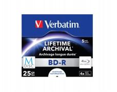 BD-R BluRay, archivačné, potlačiteľné, M-DISC, 25GB, 4x, štandardný obal, VERBATIM