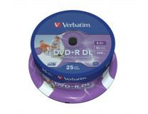 """DVD+R 8,5 GB, 8x, dvojvrstvové """"Double Layer)"""", široko potlačiteľné, cake box, """"no-ID"""""""