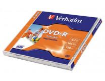 DVD-R 4,7 GB, 16x, široko potlačiteľné, matné, VERBATIM