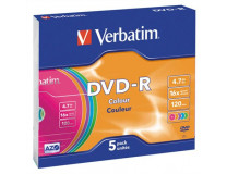 DVD-R 4,7 GB, 16x, farebné, v tenkom obale (AZO)