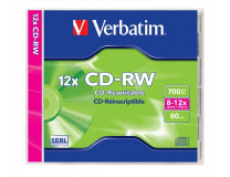 CD-RW 700 MB, 8-10x prepisovateľné, klasický obal, SERL, 8-12x, štandardný obal, VERBATIM