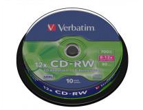 CD-RW 700MB, 8-10x, SERL, cake box, VERBATIM