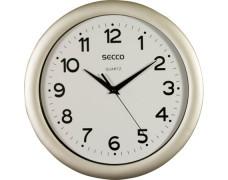 """Nástenné hodiny, 28,5 cm, SECCO """"Sweep Second"""", strieborný rám"""