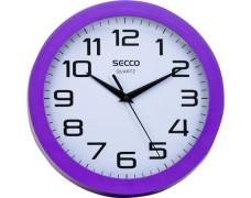 """Nástenné hodiny, 24,5 cm, fialový rám, SECCO """"Sweep second"""""""