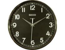 Nástenné hodiny, 24,5 cm, čierny číselník, SECCO, rám chrómovej farby