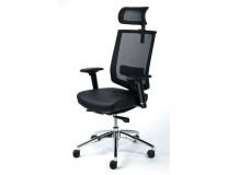 """Exkluzívna kancelárska stolička s opierkou hlavy, čierna koža, sieťové napnuté operadlo,čierny podstavec, MAYAH """"Maxy"""""""