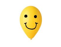 Balón, 30 cm, smiley, žltý