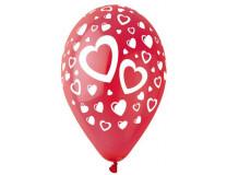 Balón, 30 cm, červený, srdiečka