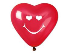 Balón, 40 cm, srdiečko, smiley, červený