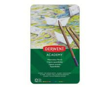 """Akvarelové ceruzky, sada, v plechovej krabičke, DERWENT """"Academy"""", 12 rôznych farieb"""