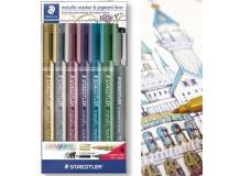 Dekoračný popisovač, 1-2 mm, kužeľový, STAEDTLER, 6 rôznych kovových farieb, darček: čierne tušové pero