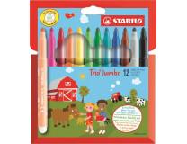 """Fixky, sada, 3 mm, STABILO """"Trio Jumbo"""", 12 rôznych farieb"""