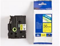 36 mm páska, žltý základ/čierne písmenká
