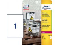 Etikety polyesterové 210 x 297mm Avery A4 biele 20 hárkov