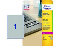 Etikety polyesterové 210x297mm Avery A4 strieborné 20 hárkov