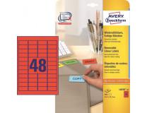 Etikety Avery odnímateľné 45,7x21,2 mm, červené