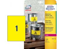 Etikety polyesterové 210x297mm Avery A4 žlté 20 hárkov