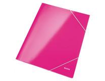Kartónový obal lesklý s gumičkou Leitz WOW ružový