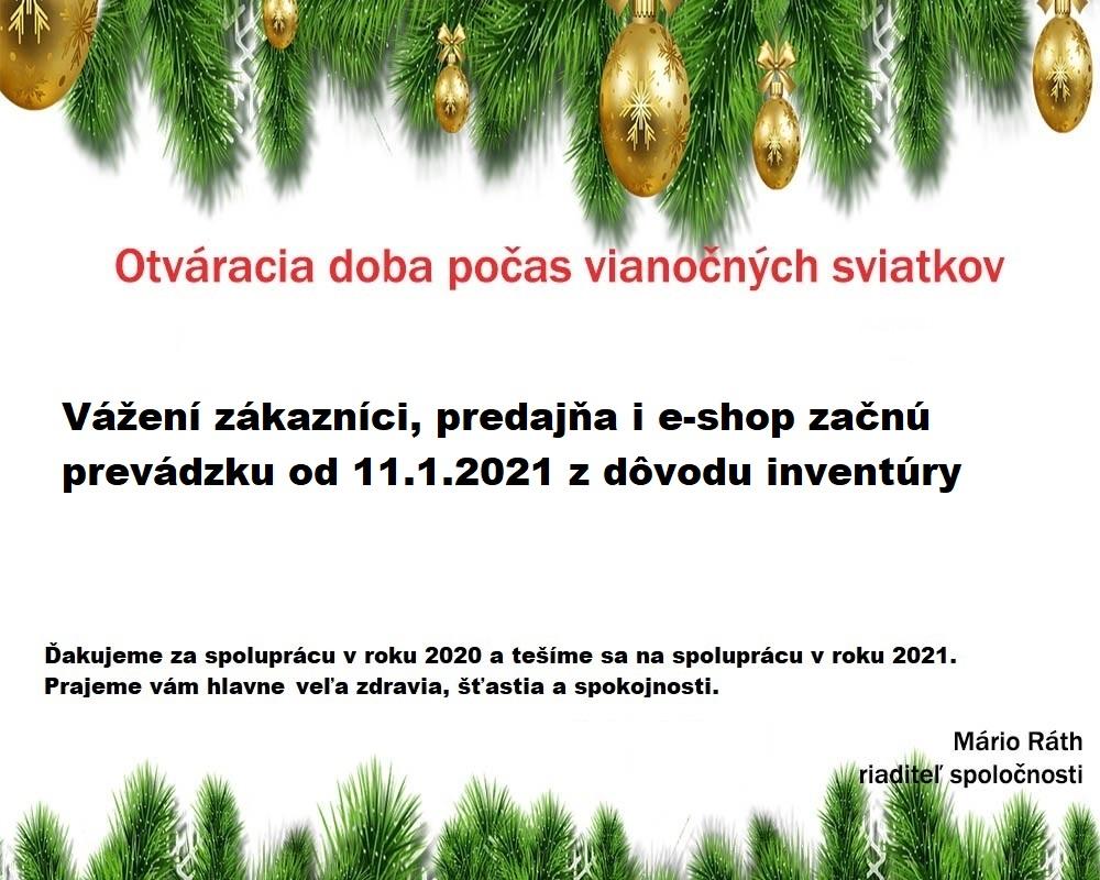 Prevádzkový poriadok počas vianočných sviatkov